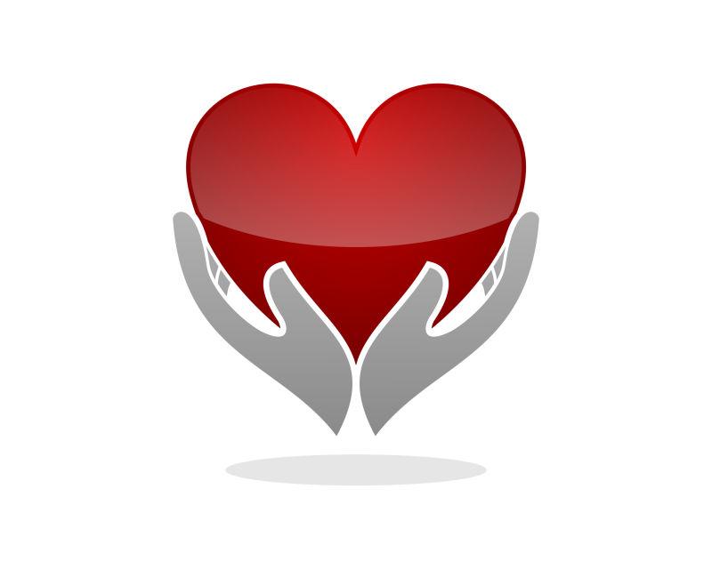 抽象矢量心脏护理的图标设计