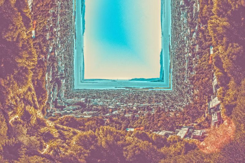 抽象四方形的美丽山景插图
