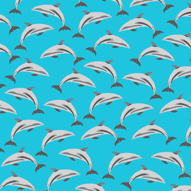 矢量海豚元素装饰无缝背景