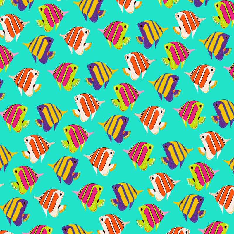抽象矢量热带鱼类图形无缝设计背景