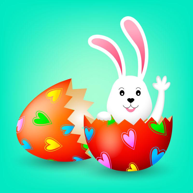 创意矢量复活节彩蛋中的兔子卡通插图