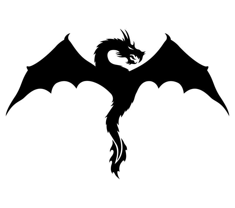 抽象矢量现代展翅的龙剪影插图