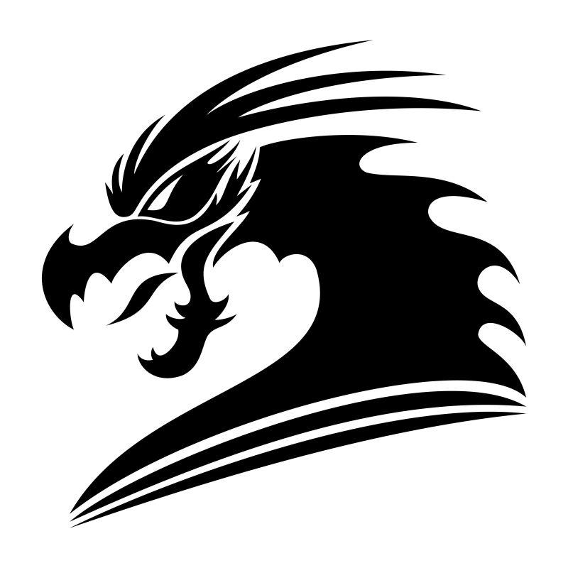 抽象矢量现代龙的剪影插图设计