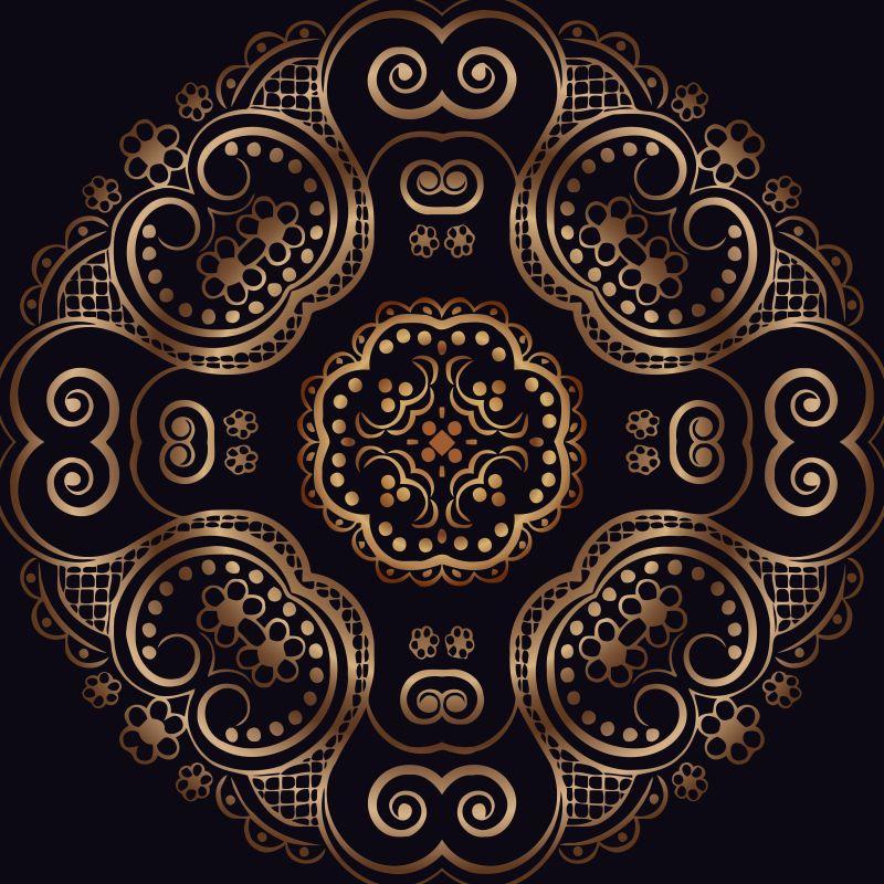 抽象矢量金属古典花卉图案设计背景