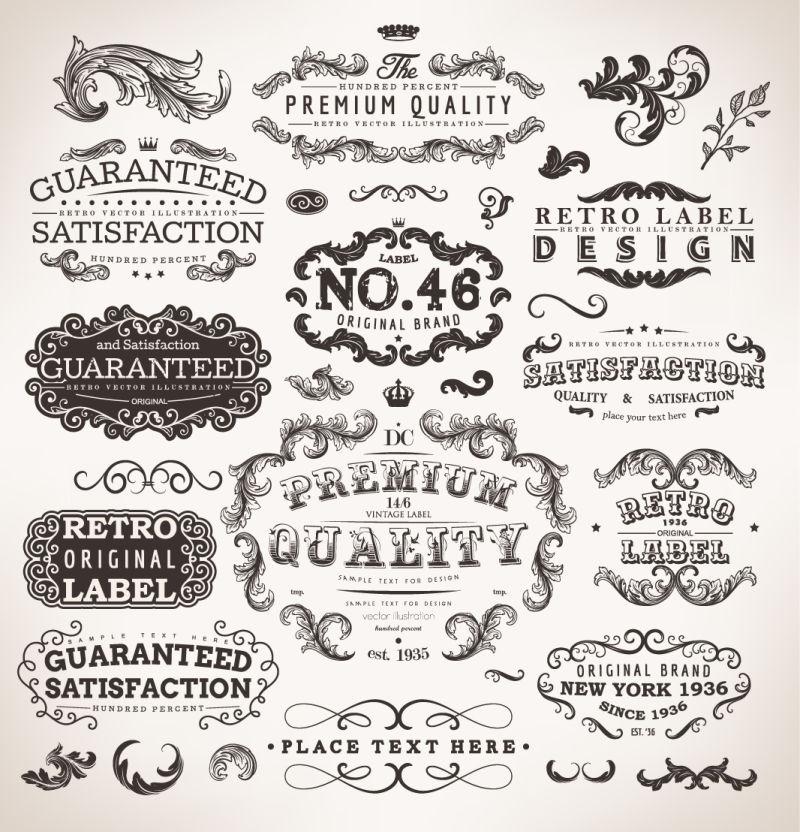 创意矢量古典风格的设计元素插图