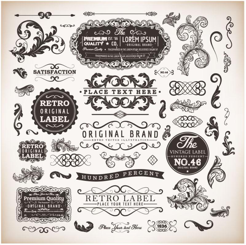 创意矢量古典装饰元素设计插图