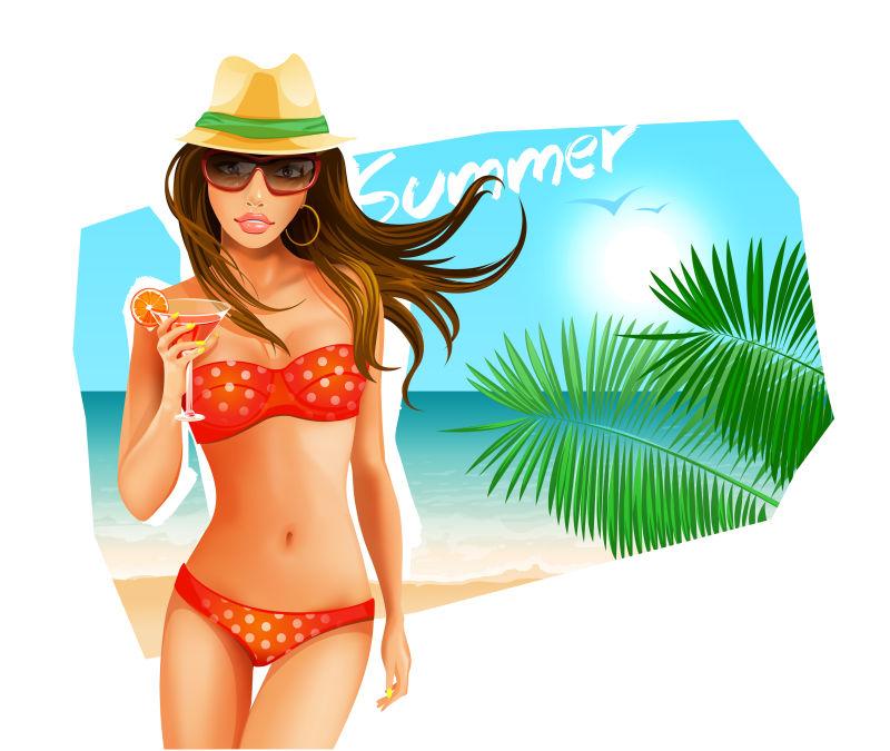 海滩上的辣妹。矢量插图
