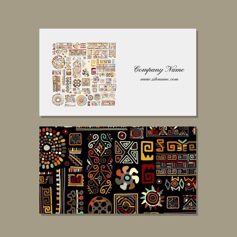 创意矢量民族元素装饰的名片设计