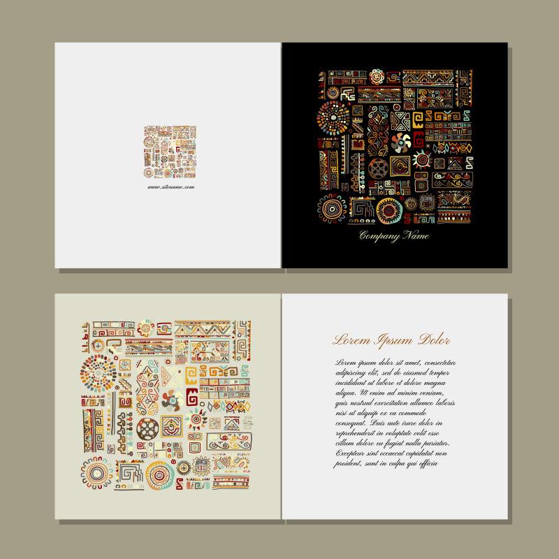 矢量抽象现代民族元素装饰卡片设计