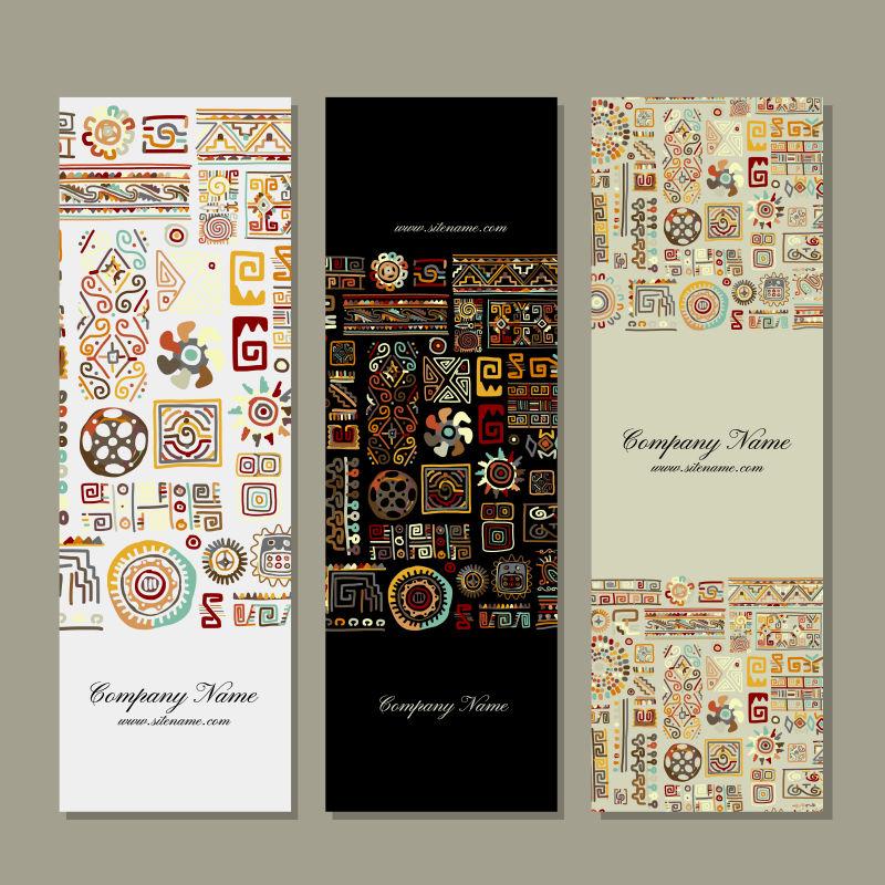 创意矢量民族花纹装饰的竖式横幅设计