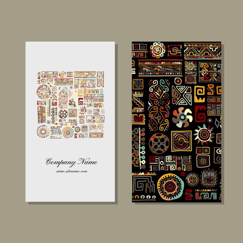 创意矢量民族纹样装饰卡片设计