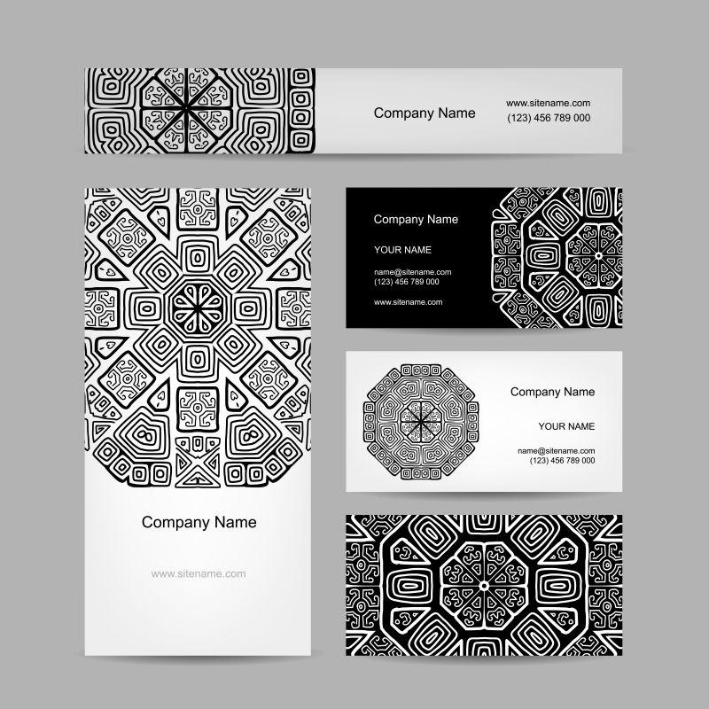 抽象矢量黑色线性风格的民族卡片设计