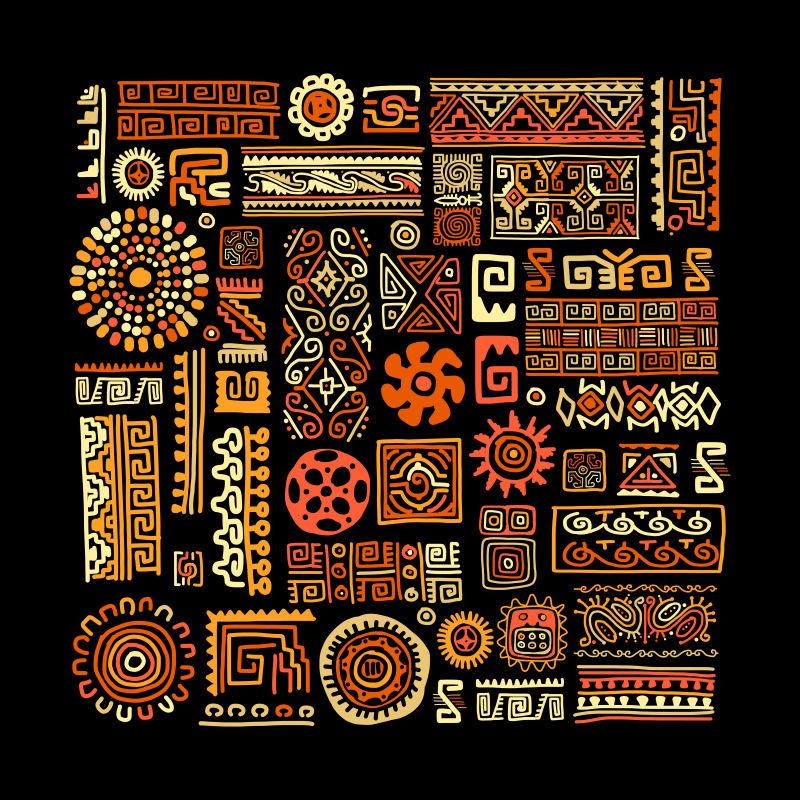 创意矢量现代民族元素装饰无缝背景
