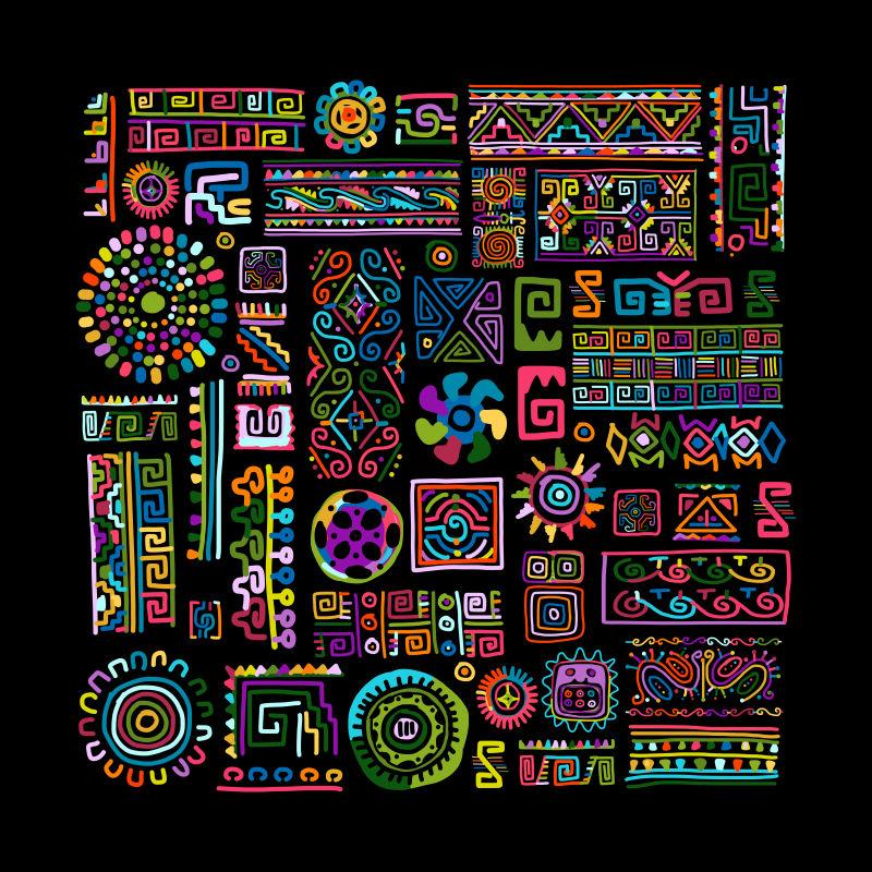 抽象矢量现代民族花纹元素装饰无缝背景