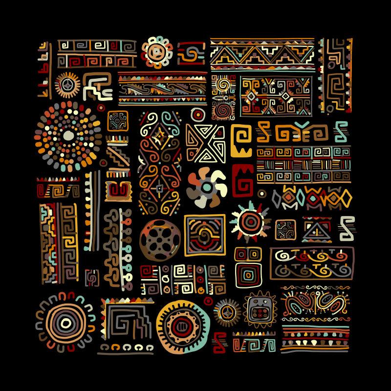 创意矢量现代民族花纹装饰无缝背景