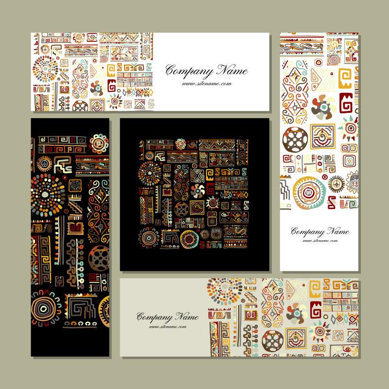 抽象矢量民族花纹装饰的现代卡片设计
