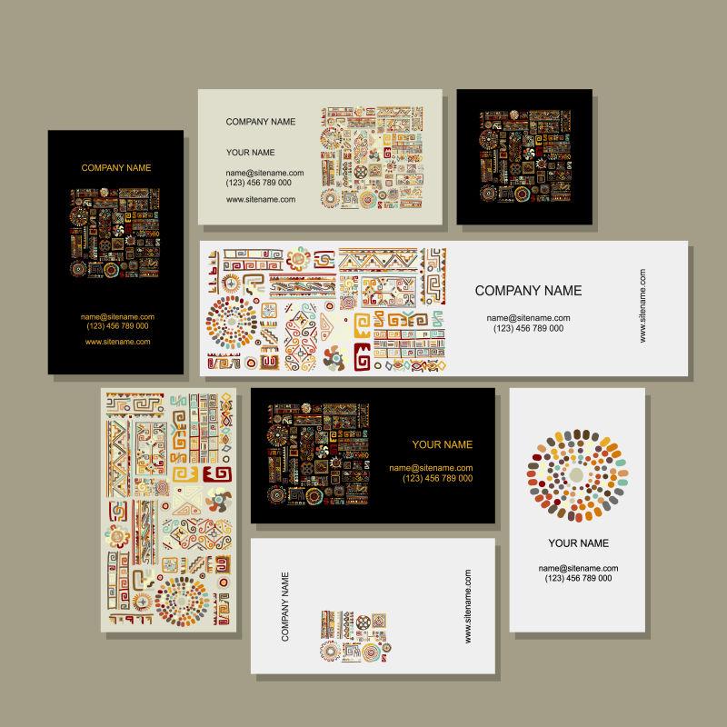 抽象矢量民族元素装饰卡片平面设计