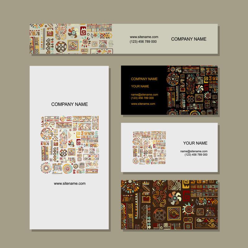 抽象矢量现代民族元素装饰卡片设计