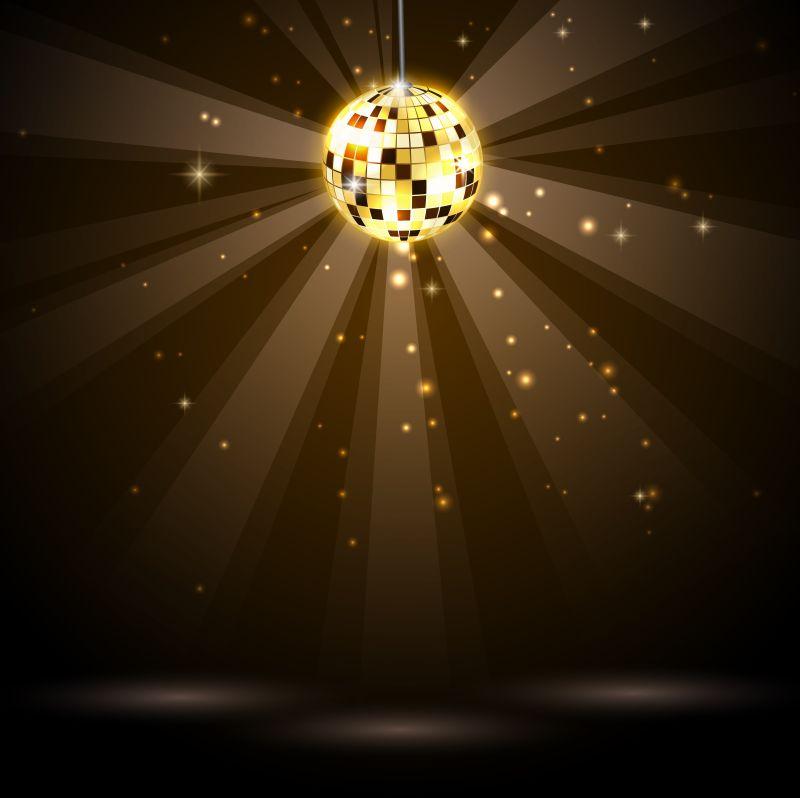 创意矢量金色迪斯科球设计元素