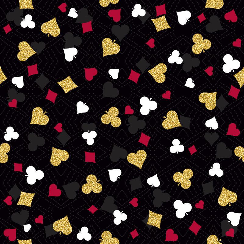 矢量彩色扑克元素装饰无缝背景