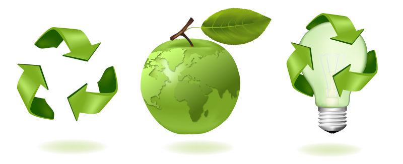 创意矢量生态循环主题图标设计