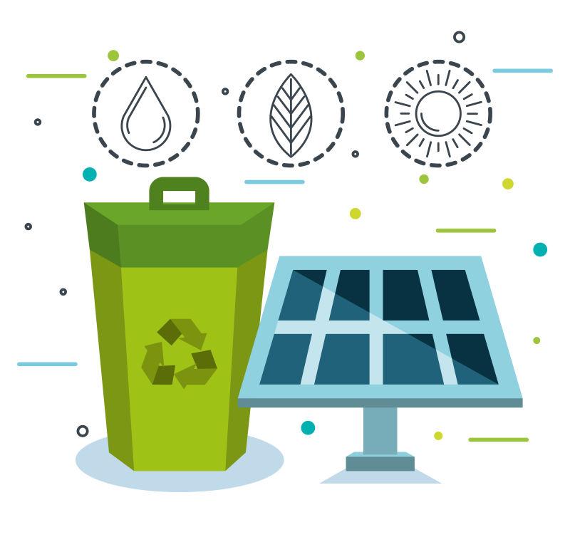 创意矢量生态能源主题平面插图设计