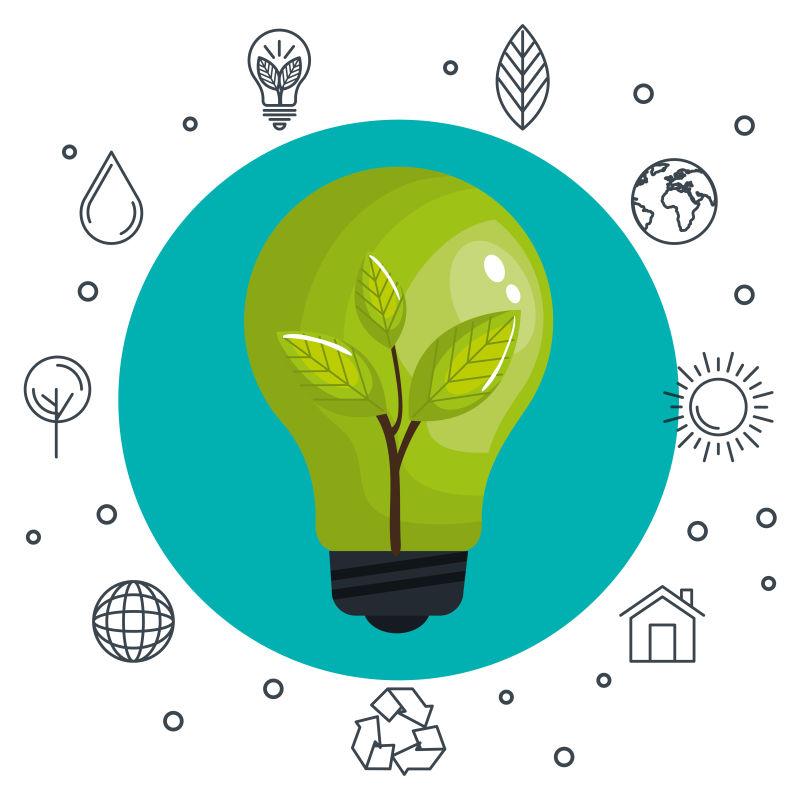 创意矢量现代生态能源主题平面插图