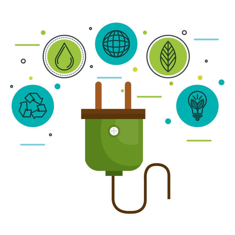 创意矢量现代生态能源元素平面插图设计