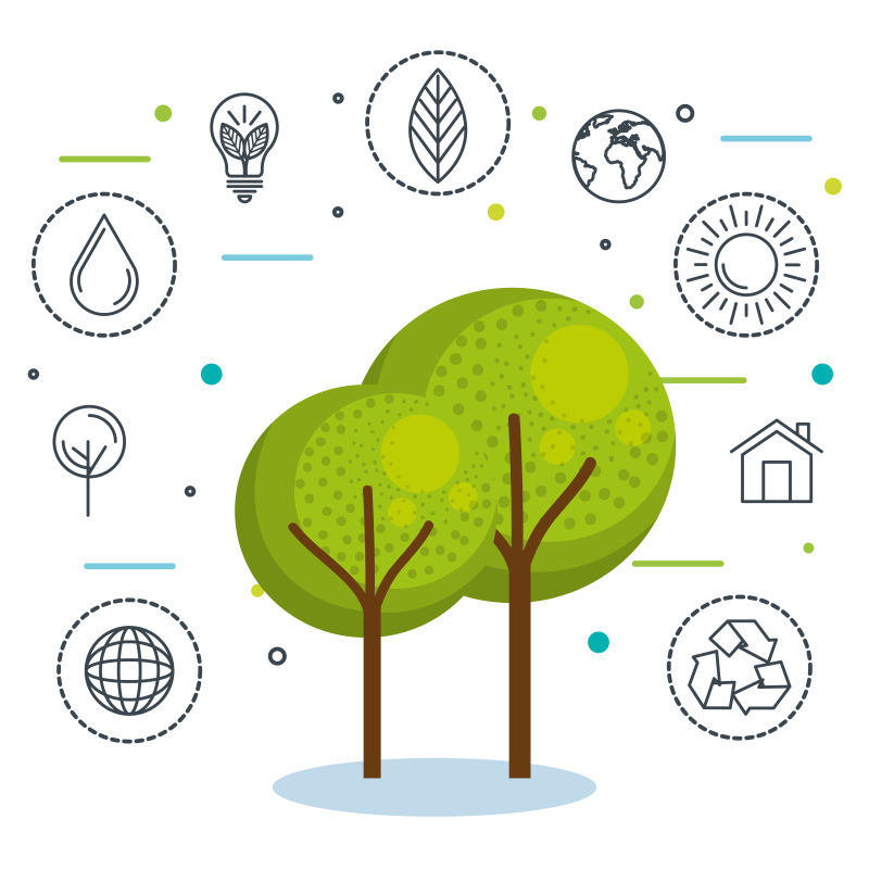 创意矢量现代生态绿树插图设计