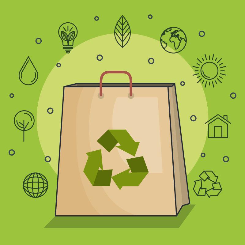 抽象矢量生态环保袋插图设计