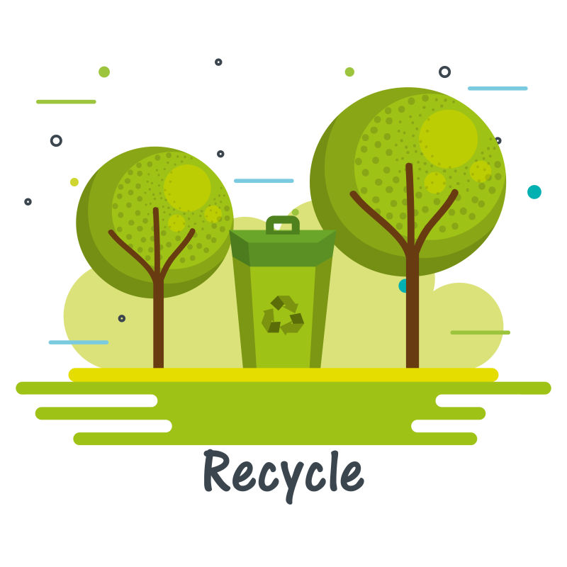 创意矢量生态循环主题插图设计