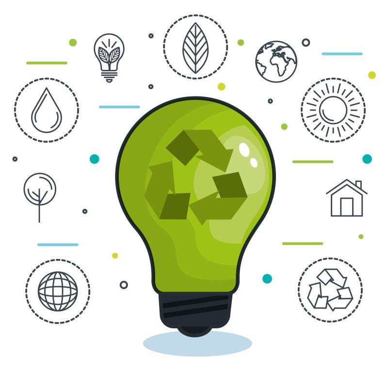 创意矢量生态能源元素插图设计