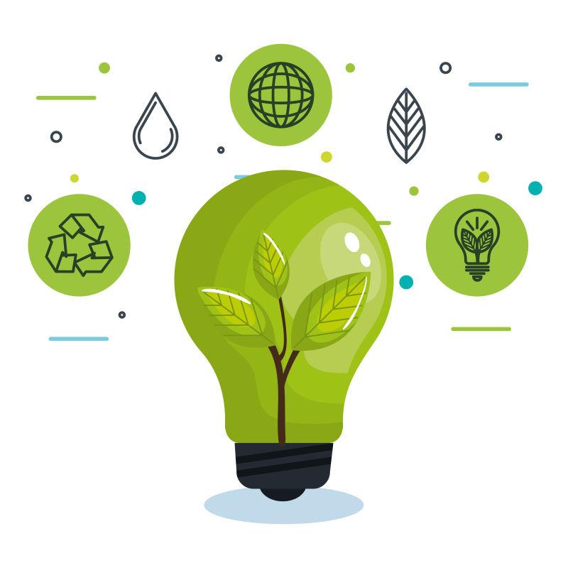 矢量创意现代生态能源主题插图设计