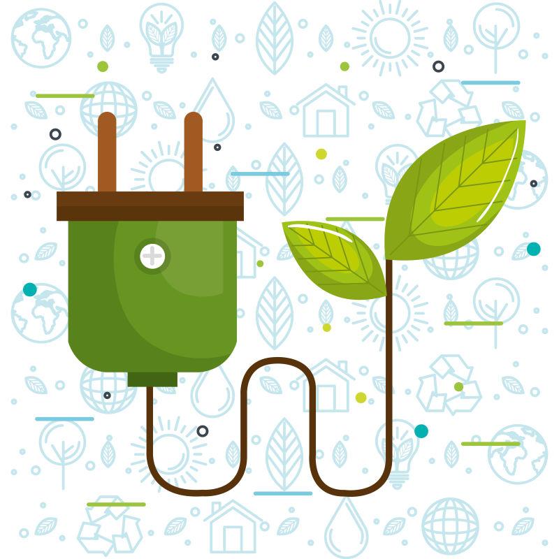 创意矢量现代生态能源主题插图设计