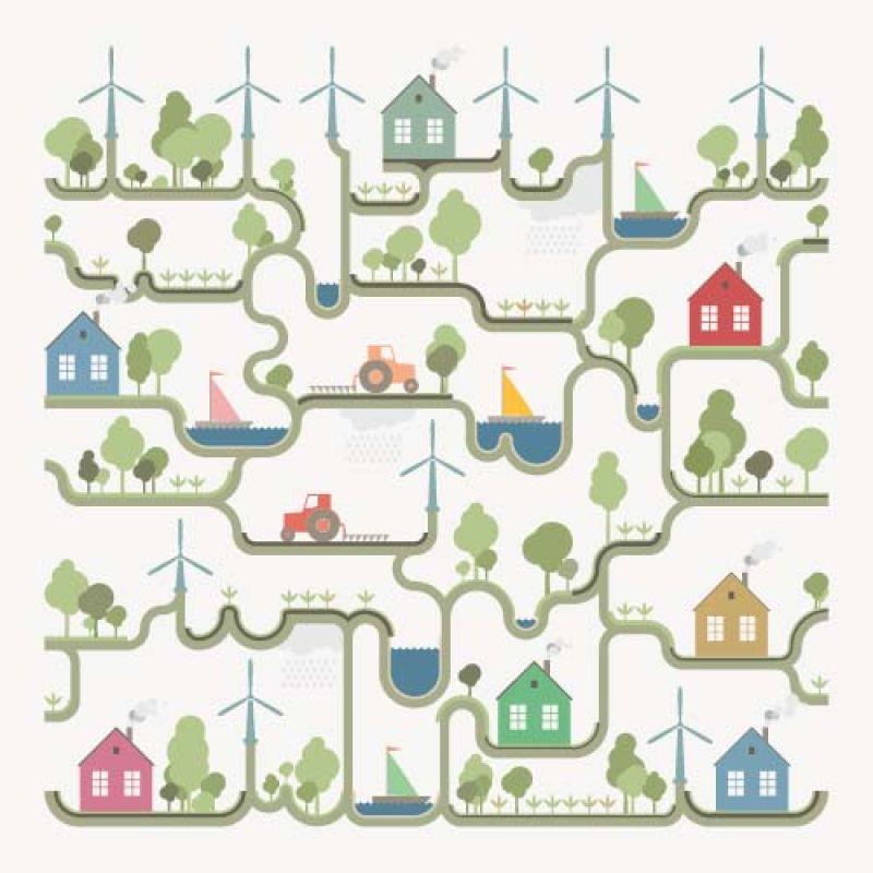 矢量现代生态主题平面创意插图设计