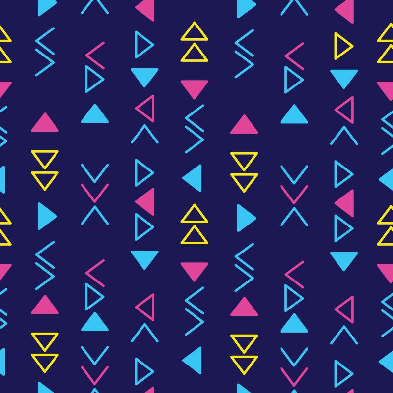 抽象矢量彩色几何三角无缝时尚背景