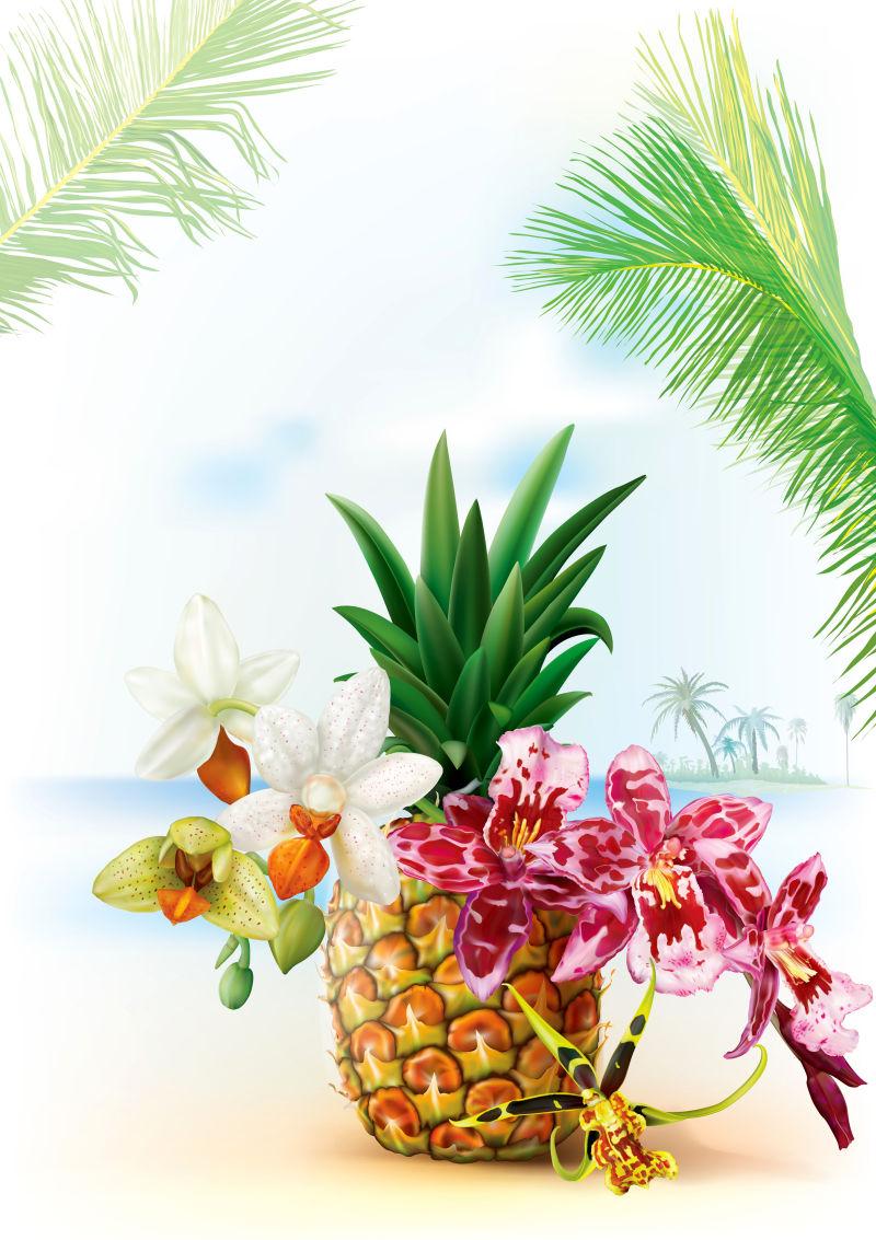创意矢量热带菠萝插图设计