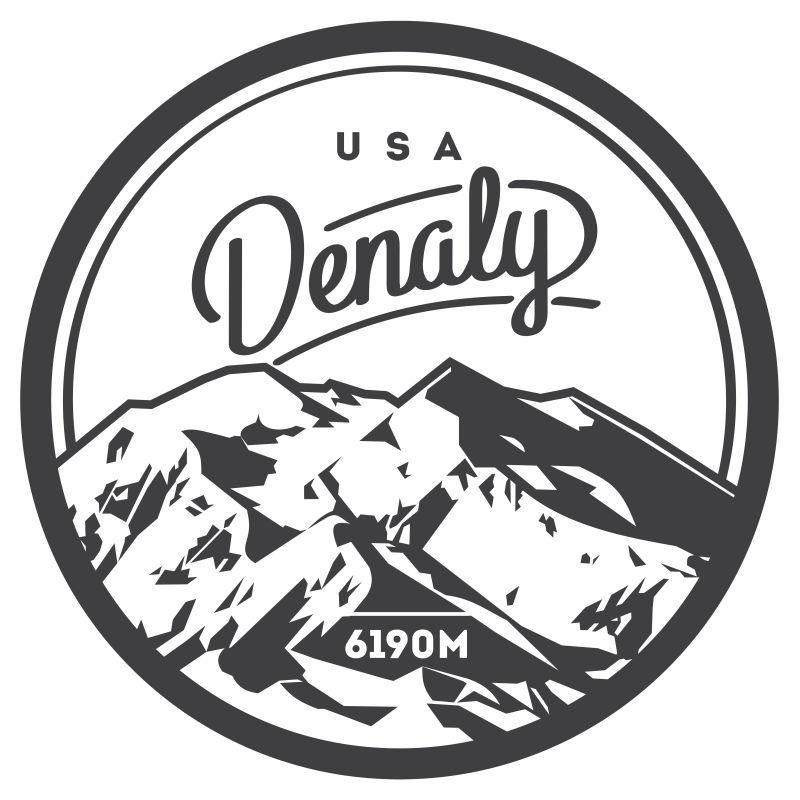 创意矢量现代雪山探险徽章设计