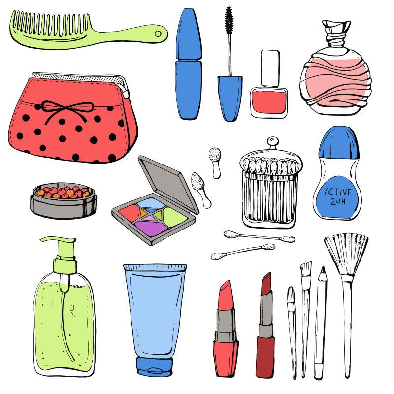 抽象矢量手绘化妆品平面插图设计