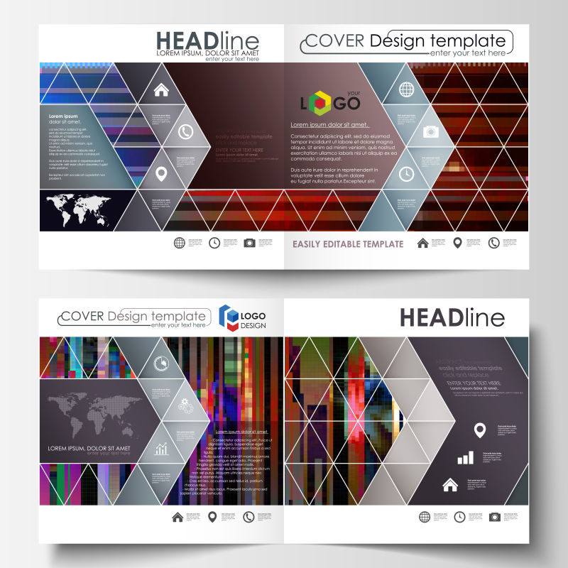 矢量抽象现代彩色几何宣传单设计