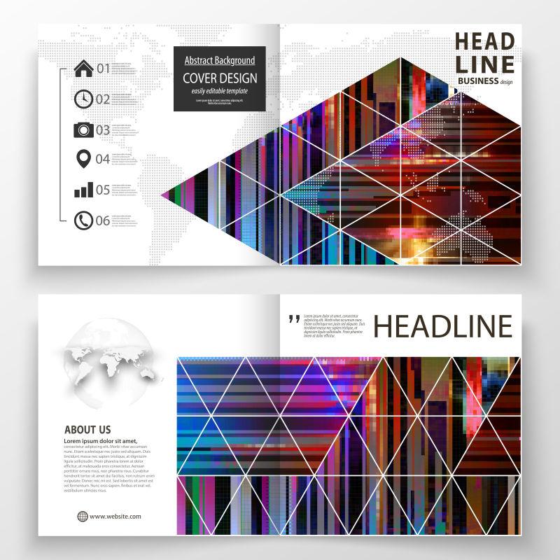 抽象矢量现代彩色几何线性宣传单设计