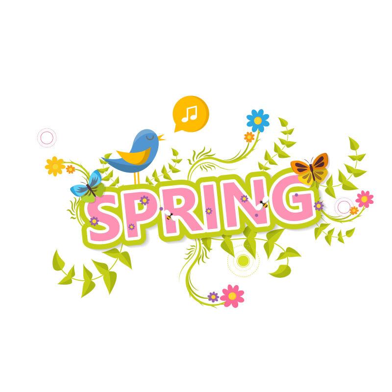 矢量春季主题平面标签