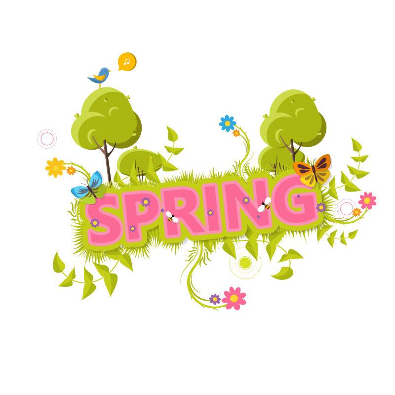 抽象矢量春季主题的平面标签