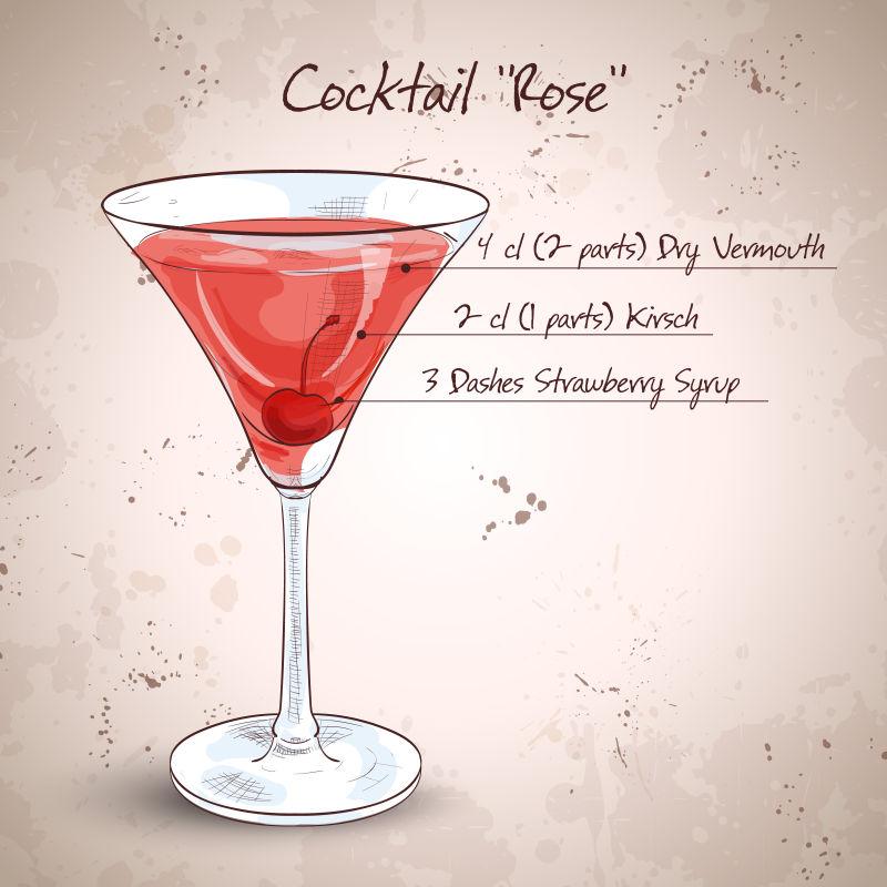 抽象矢量现代玫瑰鸡尾酒手绘插图