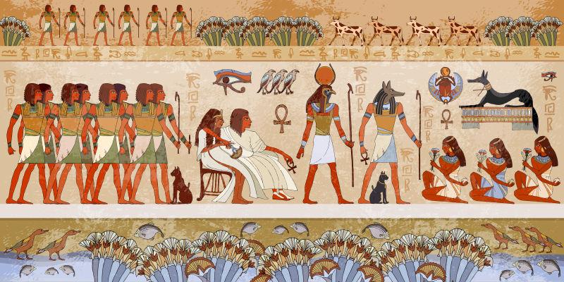 埃及神和法老。古埃及风光,神话。
