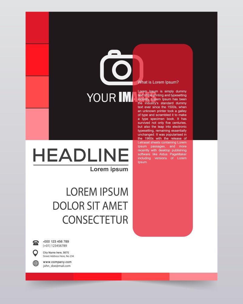 抽象矢量现代红色黑色时尚年度报告设计