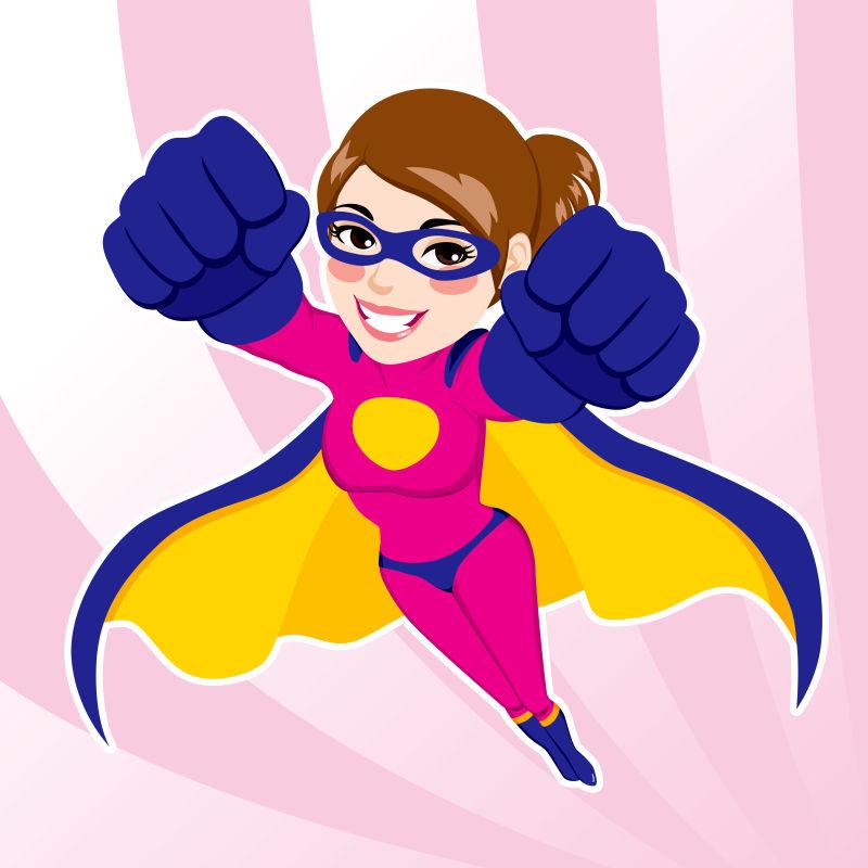 抽象矢量现代美丽的超级女英雄插图设计