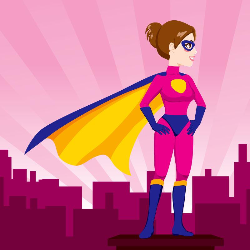 矢量美丽的超级英雄插图设计