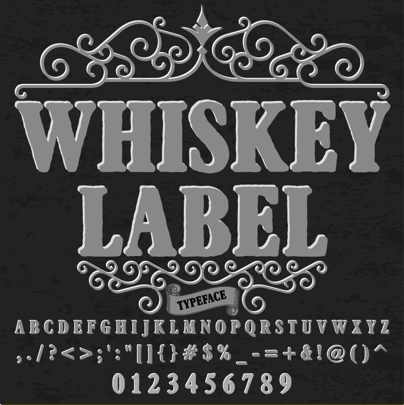 脚本字体字体威士忌标签古董字体字体矢量字体标签和任何类型的设计