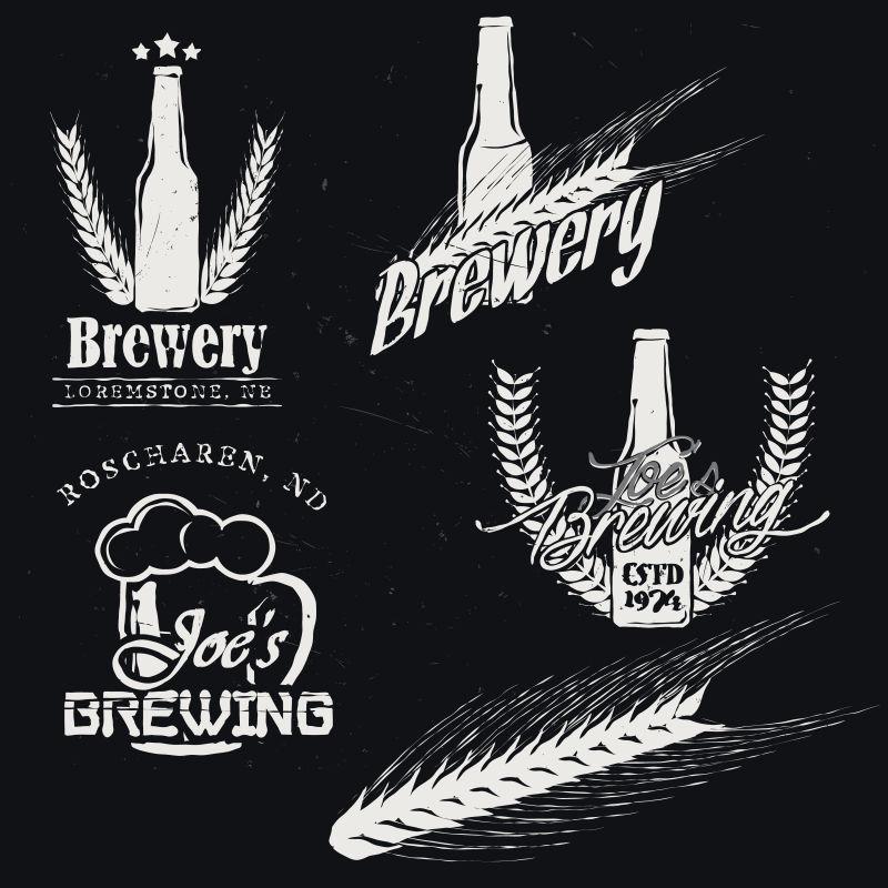 酿造啤酒(酿造)标签,工艺啤酒徽章,徽章,图标,在黑暗背景下的标志类型。详细的酿酒麦芽。矢量插图